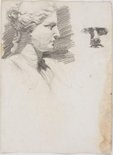 Alternate image of recto: Classic head in profile and a Face verso: Trees with fence and Landscape by Lloyd Rees