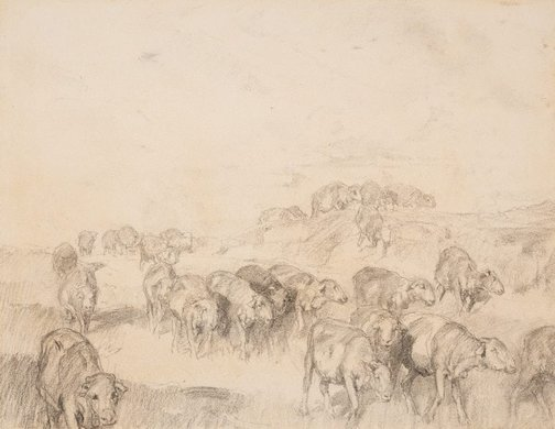 An image of Travelling sheep by Hans Heysen