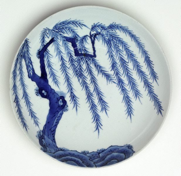 An image of Dish with design of willow tree
