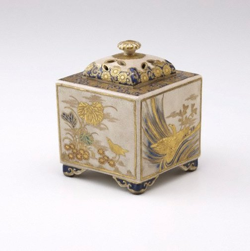 An image of Incense burner with design of  flowers and birds of the 'Four seasons' by Hôzan Ijûin, Satsuma ware
