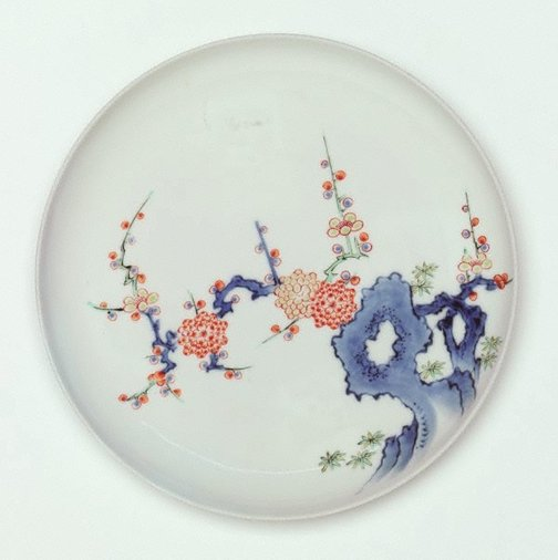 An image of Dish with design of rock and plum tree by Arita ware/Kakiemon style
