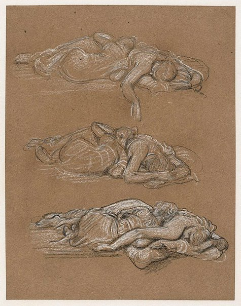 An image of Three studies of sleeping girls for the painting 'Cymon and Iphigenia' by Lord Frederic Leighton