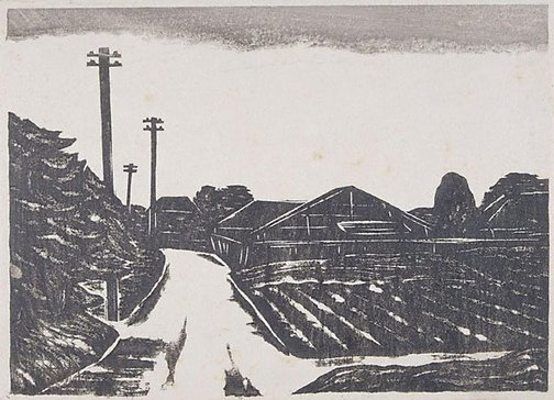 An image of A view of a suburb by Fukazawa Sakuichi
