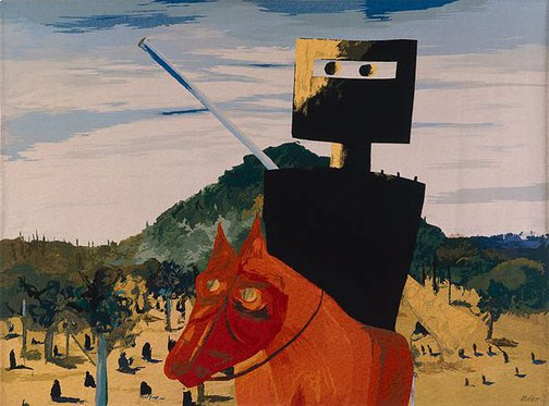 An image of Ned Kelly by Sidney Nolan, Portalegre Tapestry Workshop