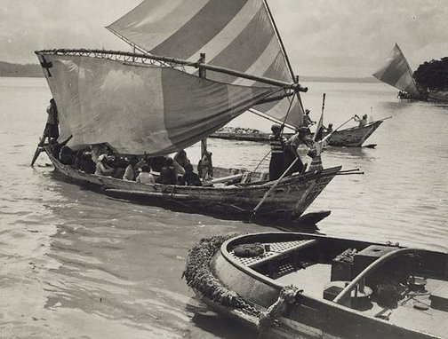 An image of Untitled (Native boats, Fijian Islands) by Henri Mallard