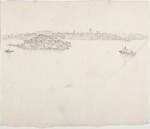 An image of recto: Drawing for 'Iron Cove, Sydney Harbour' verso: [wax impressions] by Lloyd Rees