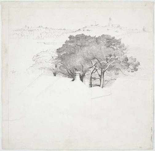 An image of Harbour study with trees and house by Lloyd Rees