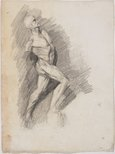 Alternate image of recto: Apollo, Head from the cast verso: Écorché study of male figure by Lloyd Rees