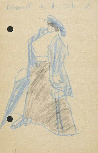 An image of (Woman with an umbrella) by Lyonel Feininger