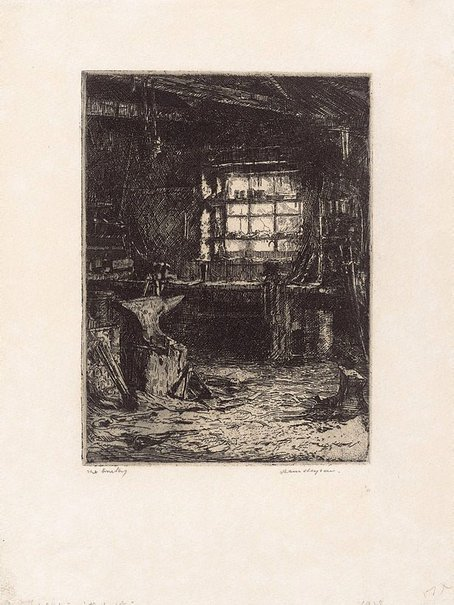 An image of The smithy by Hans Heysen