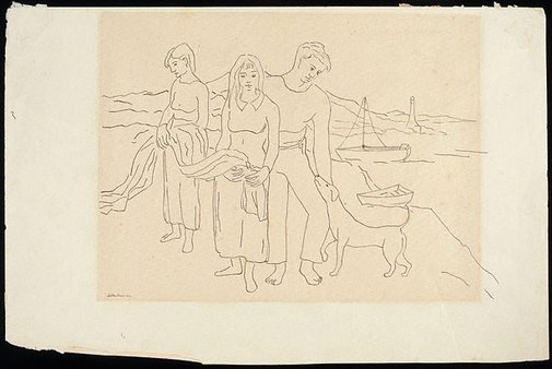 An image of Drawing for the painting 'The fisher family ' by David Strachan