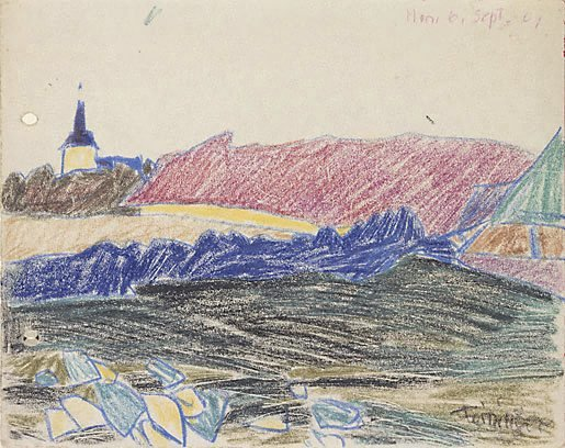 An image of (Landscape with a distant church)