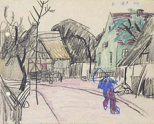 An image of (Village street: a man carrying a scythe) by Lyonel Feininger