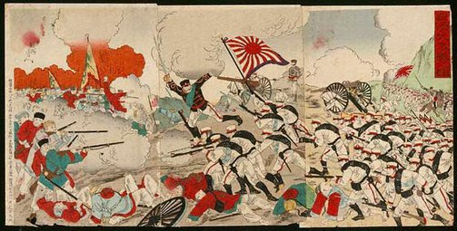 An image of Battle scene from Sino-Japanese war by Toyohara (Yôshû) CHIKANOBU