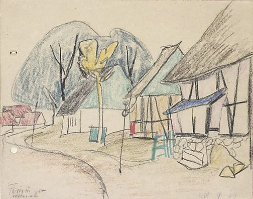 An image of Neppermin (Village houses) by Lyonel Feininger