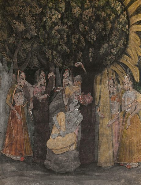 An image of Krishna and Radha with attendants by