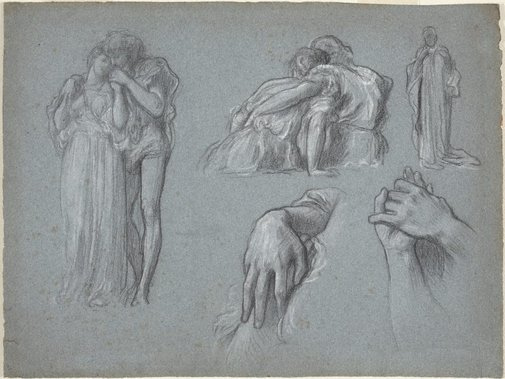 An image of Studies for 'Whispers' and 'Wedded' by Lord Frederic Leighton