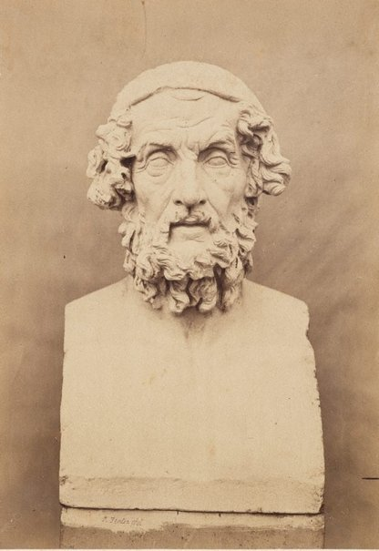An image of Bust of Homer, frontal view by Roger Fenton