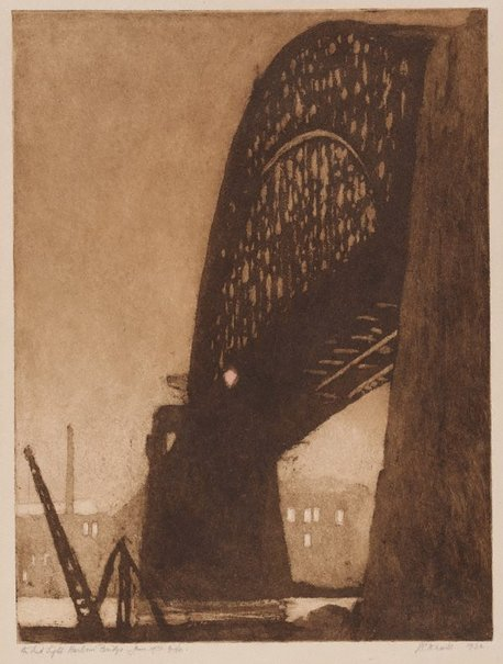 An image of The red light, Harbour Bridge, June 1931 by Jessie Traill