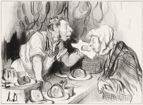 An image of Sniffing the goods by Honoré Daumier