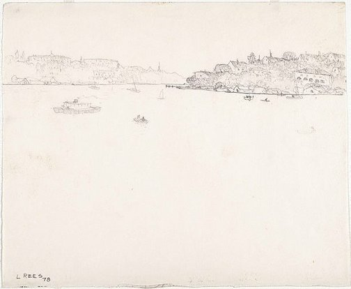 An image of recto: Drawing for 'The Lane Cove River' verso: [wax impressions] by Lloyd Rees