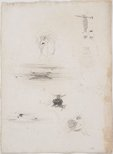 Alternate image of recto: Ecorché accroupi verso: Small sketches - Two girls, dog's head, boat in the shallows and boat on the sand by Lloyd Rees