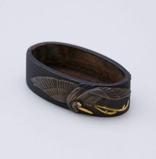 An image of fuchi (with design of crane and tortoise) by