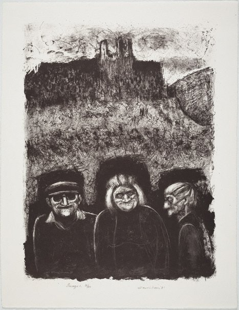 An image of Three villagers and Château D'Opoul by Noel Counihan