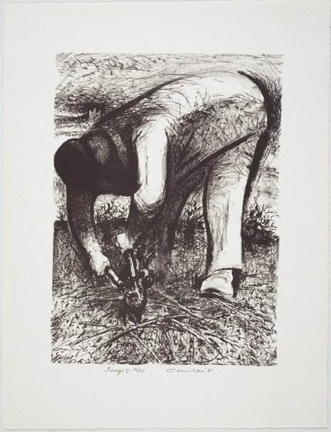 An image of Pruning the vines by Noel Counihan