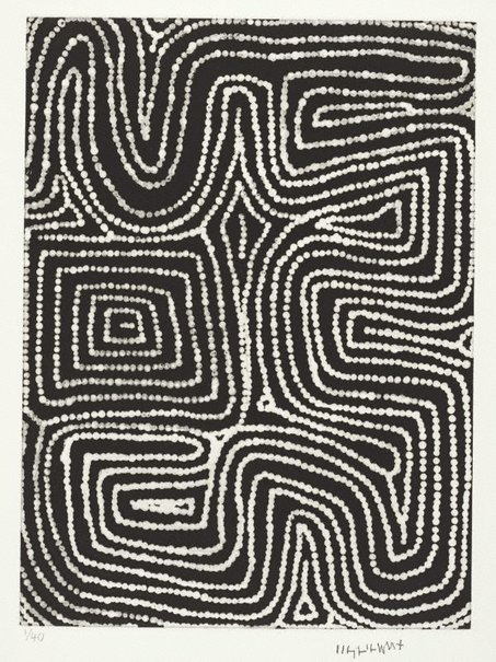 An image of Marrawa by Warlimpirrnga Tjapaltjarri