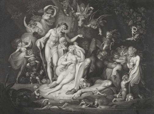 An image of Titania's awakening. A midsummer night's dream by Thomas Ryder, after Henry Fuseli