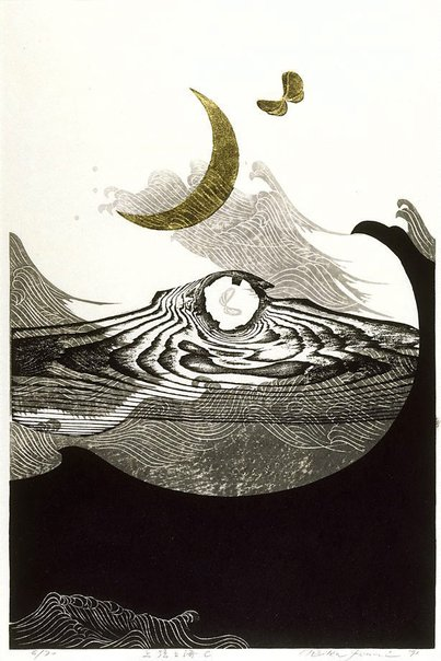 An image of New moon and sea - C by Reiko Iwami Reika