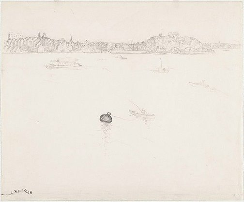 An image of recto: Drawing for 'The Balmain buoy' verso: [wax impressions] by Lloyd Rees