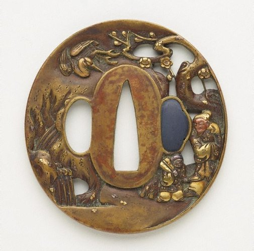 An image of tsuba (with pierced design of old man and his young attendant in a landscape with a plum tree, waterfall and a crane in flight) by