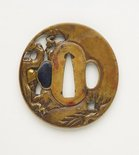 Alternate image of tsuba (with pierced design of old man and his young attendant in a landscape with a plum tree, waterfall and a crane in flight) by