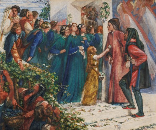 An image of Beatrice meeting Dante at a marriage feast, denies him her salutation