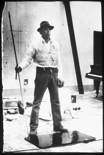 An image of Joseph Beuys in the Action 'Celtic Edinburgh' by Ute Klophaus, Joseph Beuys