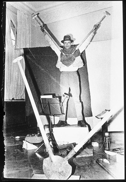 An image of Joseph Beuys in the Action 'Twenty four hours' by Ute Klophaus, Joseph Beuys