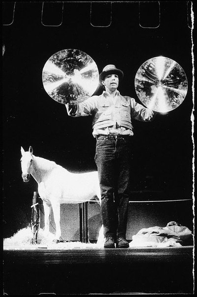 An image of Joseph Beuys in the Action 'Iphigenie / Titus Andronicus' by Ute Klophaus, Joseph Beuys