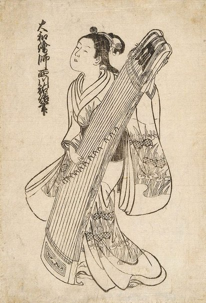An image of (Girl with koto) by Nishikawa SUKENOBU