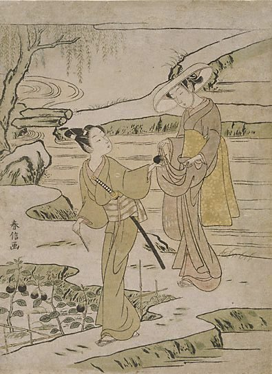 An image of (Lovers in an eggplant field) by Suzuki HARUNOBU
