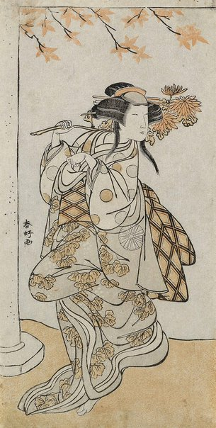 An image of Onnagata Nakamura Noshio dancing in the role of a fox-girl by Katsukawa SHUNKÔ