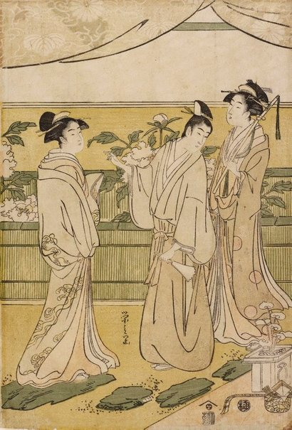 An image of The chapter 'Hana-no-en' from the 'Tale of Genji' by Hosoda EISHI