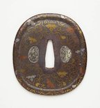 Alternate image of tsuba (with paulownia and karakusa pattern design) by