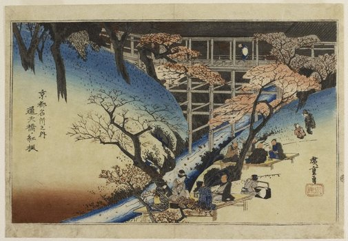 An image of Maple at Tsûten bridge by Hiroshige Andô/Utagawa