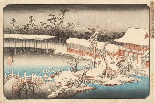 An image of Snow at the Tenmangû compound, Kameido by Andô/Utagawa HIROSHIGE