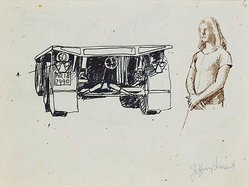 An image of Drawings for 'Truck and trailer approaching a city' by Jeffrey Smart