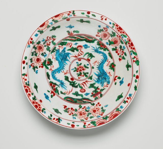 An image of Large dish with design of two dragons