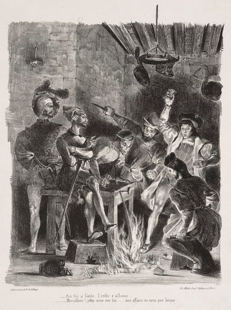 An image of Mephistopheles in the tavern by Eugène Delacroix