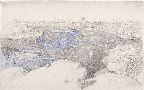 An image of recto: Drawing for 'Dusk on the harbour' verso: [wax impressions] by Lloyd Rees